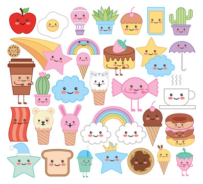 bundle of emojis animals and food kawaii characters