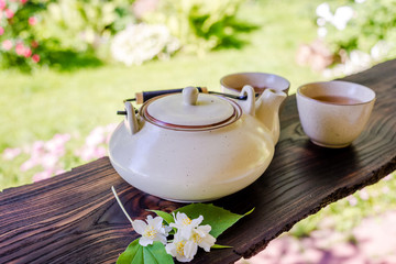 Teapot and two cups of tea. Summertime in the garden