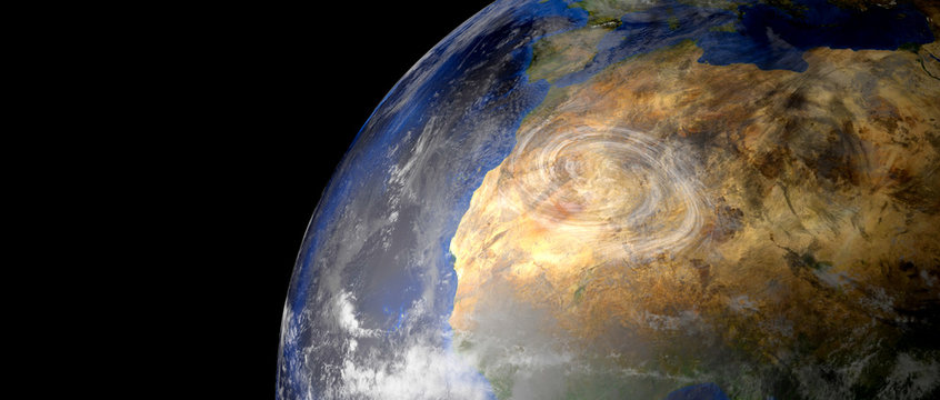 Extremeley detailed and realistic high resolution 3d illustration of a Hurricane. Shot from space. Elements of this image are furnished by Nasa.