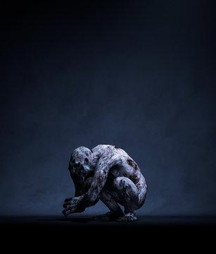 3d rendering of a Monster in the dark