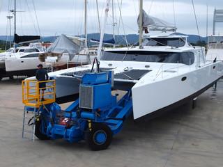 Boat handling at a Queensland marina.