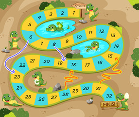 the snake and ladders game with the crocodile theme