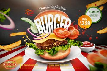 Fototapeta Delicious hamburger ads obraz