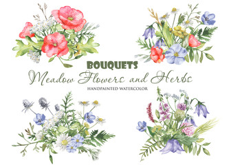 Watercolor bouquets with wildflowers, herbs, plants, meadow flowers. Flower botanical set on a white background. Great for cards, invitations, greeting cards, weddings, quotes, patterns, bouquets, log