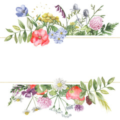 Watercolor banner with wildflowers, herbs, plants, meadow flowers. Great for cards, invitations, greeting cards, weddings, quotes, patterns, bouquets, logos.