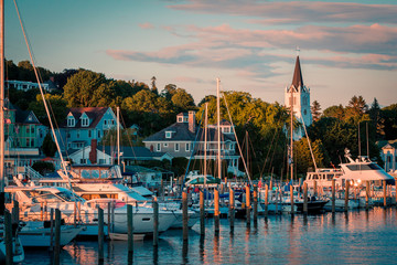 The Marina at Mackinac Island with Saint Anne's church and the historic Victorian houses a sunset shot from Lake Michigan Wall mural