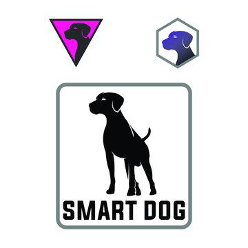 smart dog, big dog, sihouette logotype