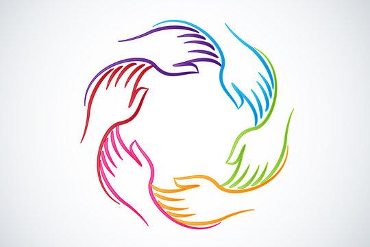 Logo teamwork hands unity people