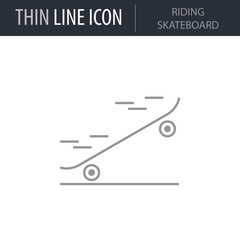 Symbol of Riding Skateboard Thin line Icon of Fitness And Sport. Stroke Pictogram Graphic for Web Design. Quality Outline Vector Symbol Concept. Premium Mono Linear Beautiful Plain Laconic Logo