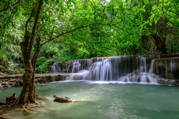 Wall Murals Waterfalls Beautiful waterfall is name Hua mae kamin waterfall in Erawan National Park, Kanchanaburi province, Thailand.