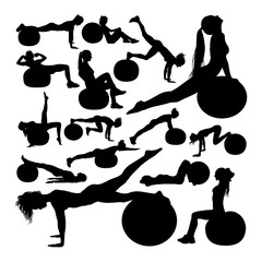Beautiful woman doing fitness silhouettes. Good use for symbol, logo, web icon, mascot, sign, or any design you want.