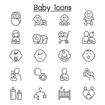 Baby, Infant icon set in thin line style