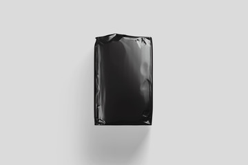 Black Blank Glossy Paper Bag Package Mock up of Flour isolated on light gray background.3D rendering.