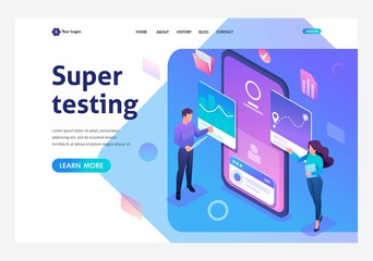 Isometric young people stand near the mobile phone screen, testing the program and mobile application. Template landing page