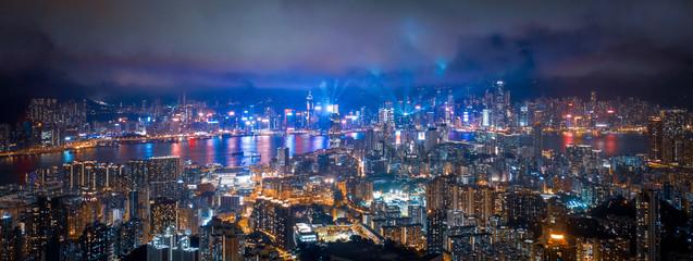 Poster Las Vegas Night of victoria harbor, Hong Kong. Sparking light around the city