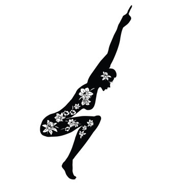 Woman Practicing Yoga. Vector Illustration of a Woman Making Fitness Exercise. Silhouette with flower cut design - Vector