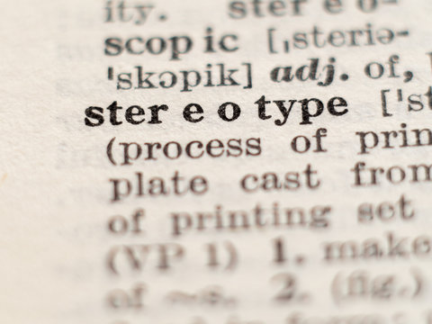 Dictionary definition of word stereotype, selective focus.