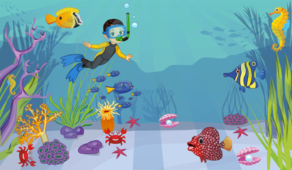 Poster Onderzeeer paints of the underwater world through the eyes of drivers