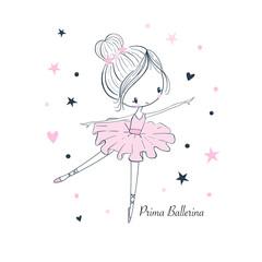 Cartoon little Prima Ballerina. Simple linear vector graphic isolated illustration