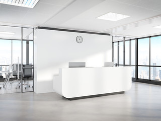 Blank white reception desk in concrete office with large windows Mockup 3D rendering