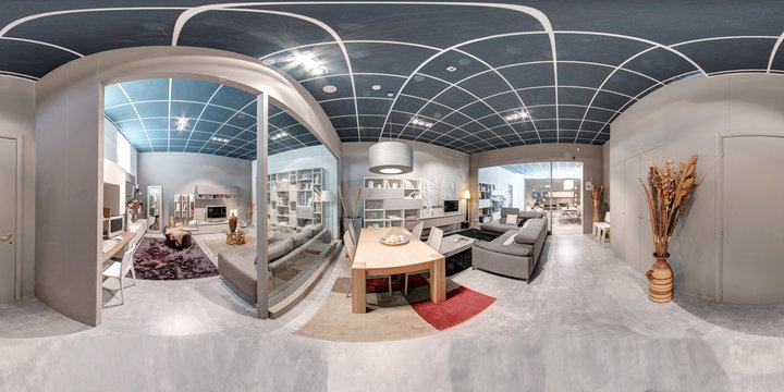 360 panorama of a furniture showroom interior