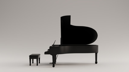 Black Grand Piano 3d illustration 3d render