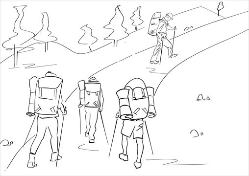Group of four tourists with hiking sticks and backpacks. Abstract isolated contour. Hand drawn outlines. Black line drawing. Vector silhouette.
