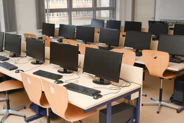 Computer room for pupils and students in a school computer lab