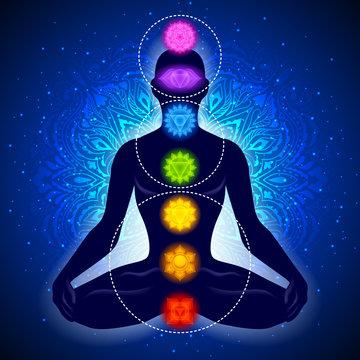 Meditating human in lotus pose. Yoga illustration.