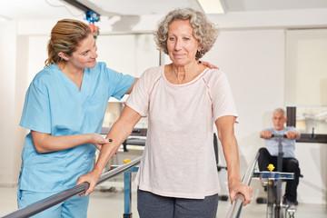 Senior woman exercising in rehab