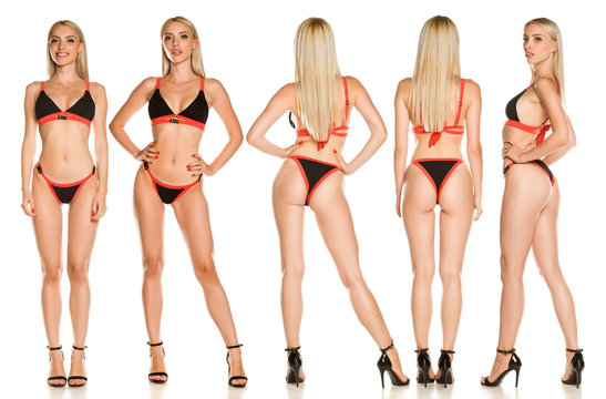 Collage of same pretty young lady in black swimsuit and sandals on white background