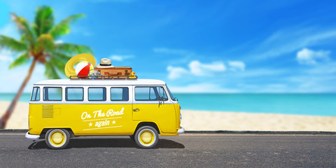 Yellow van on the journey. Beach with palm tree in background. The concept of adventure, hippie travel and vacation.