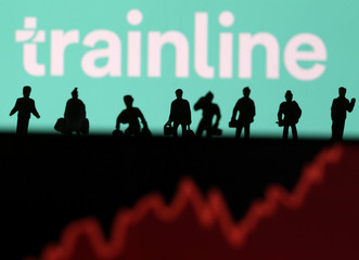 Trainline logo is displayed behind small toy figures and stock graph in this illustration picture