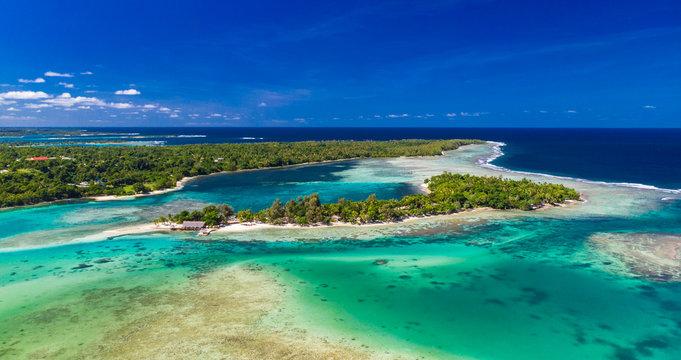 Drone aerial view of Erakor Island, Vanuatu, near Port Vila