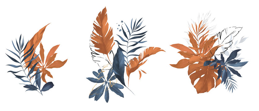 terracotta and navy blue watercolor  leaves. herbal illustration. Botanic tropic composition.  Exotic modern design