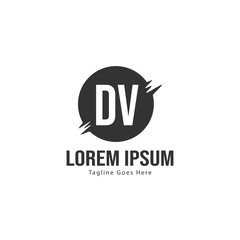 Initial DV logo template with modern frame. Minimalist DV letter logo vector illustration
