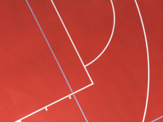 Basketball court and its layout view from above. Aerial Photography