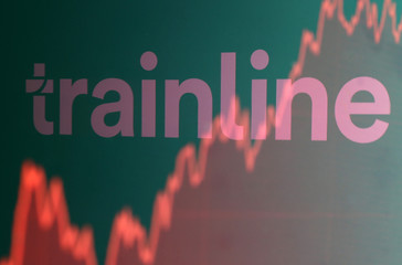 Trainline logo is reflected on screen-displayed stock graph in this picture illustration