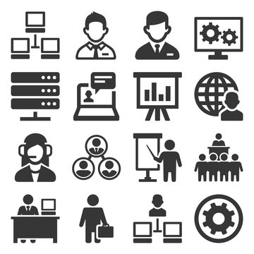 System Administrator and Operator Icons Set. Vector