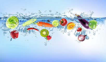 Photo sur Plexiglas Eclaboussures d eau fresh vegetables splashing into blue clear water splash healthy food diet freshness concept isolated white background. Realistic Vector Illustration.