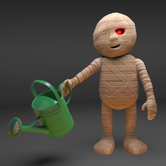 Egyptian mummy monster waters his patch of the desert, 3d illustration