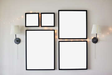 Different size framed photos.