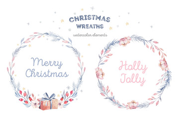 Wall Mural - Christmas winter wreath card. Watercolor holiday decoration painting with hand lettering. Berry wreaths for Merry Christmas. Watercolor.