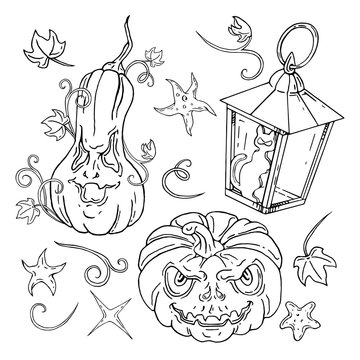 Jack O Lantern Halloween set. Lanterns. Hand drawn vector illustrations. Use it as id or change white to any color you please
