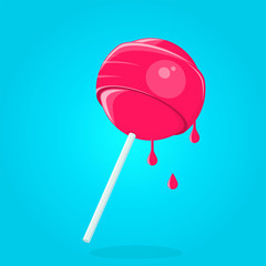 vector illustration of a sweet cartoon lollipop