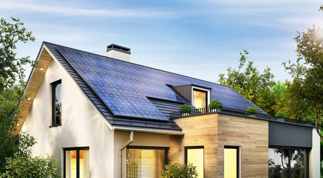 Solar panels on the gable roof of a modern house