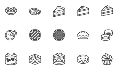 Pies and Cakes Vector Line Icons Set. Bakery, Piece of Cake, Donut, Sweet Pastry, Dessert. Editable Stroke. 48x48 Pixel Perfect. Fototapete