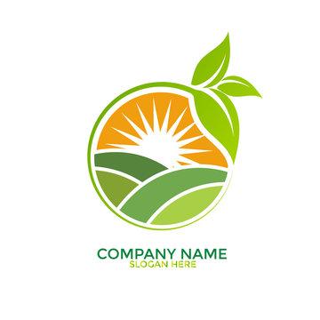 Green Nature Farm Logo Design Template