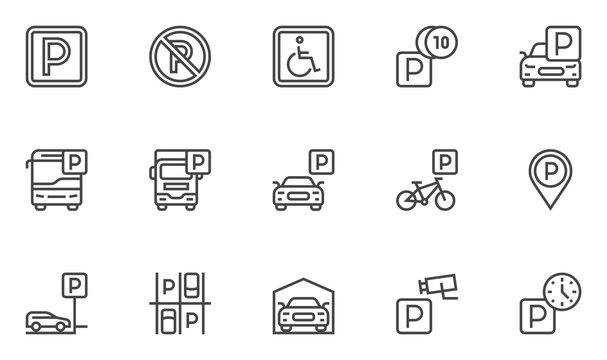 Parking Vector Line Icons Set. Parking Spaces, Car Park, Paid Parking. Editable Stroke. 48x48 Pixel Perfect.