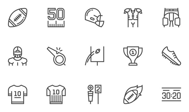 American Football Vector Line Icons Set. Cup Winner, Football Championship, Stadium. Editable Stroke. 48x48 Pixel Perfect.